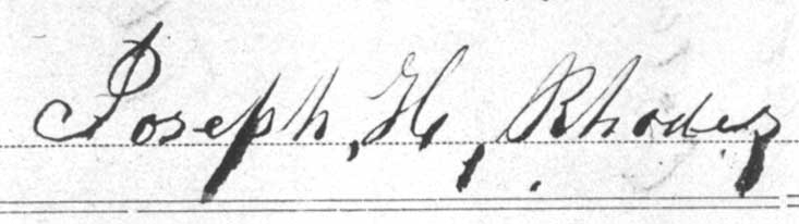 Signature of Joseph H. Rhodes, 1861